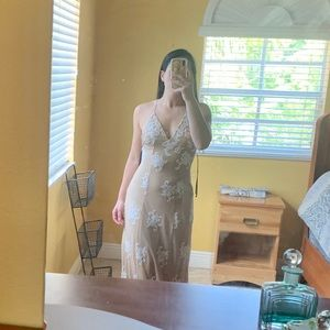 F21 Nude with white lace maxi dress